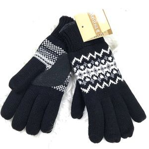 Isotoner One Size Knit Fleece Winter Gloves Warm